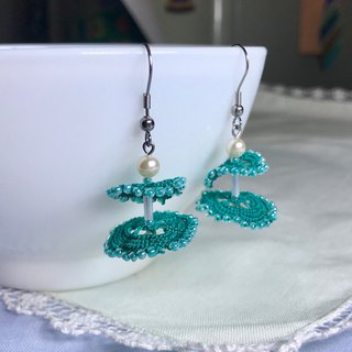Dancing dress earrings (green) / tatted lace / gift / princess dress / ear clip