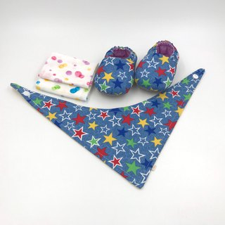Colorful stars - Miyue baby gift box (toddler shoes / baby shoes / baby shoes + 2 handkerchief + scarf)