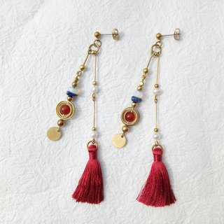 <Red Dance> National Wind Fringe Brass Earring Ear Ear/Ear clip