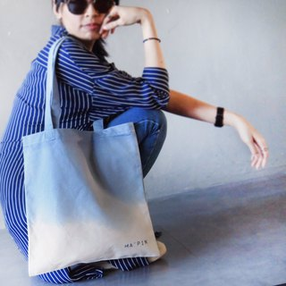 Cornflower blue gradient dyed cotton canvas hand dyed tote bag single back