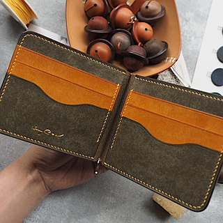 Contrast short clips banknote clip wallet Italy imported matte vegetable tanned leather handmade leather design customized
