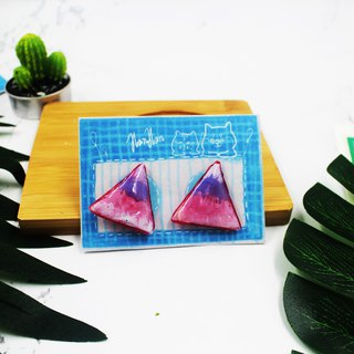 Purple Triangle - Self-Implemented Earrings (Clip Type)