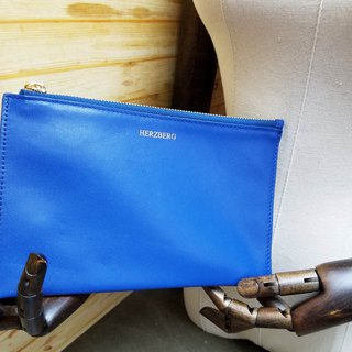 Imported Italian Nappa Leather Small Indigo Blue Pouch