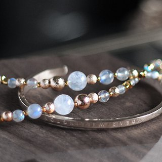遥想星球__ Natural ore white moonstone blue turquoise 24K gold pure copper bracelet bracelet