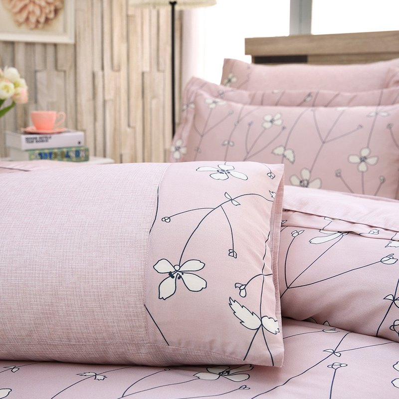 Extra large size Jane Eyre flower (powder) - Tencel dual-use bed cover six-piece group [100% lyocell]