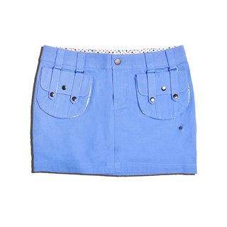 Mid-waist College Style Street Style Women Skirt Mini Solid Cotton 2 Detachable Pocket Skirt-blue