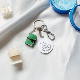 Goolr side thing | green key ring leather mini manual book can be opened can write important things on the body gift limited hand