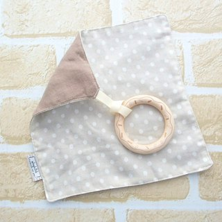 Baby Teething Blanket, Rattle  Wooden Toy, Japanese Cotton, Tan Beige Polka Dots