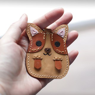 Hello Corgi handmade leather strap