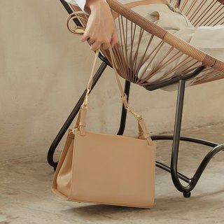 "''Libra"" leather shoulder bag - Beige"