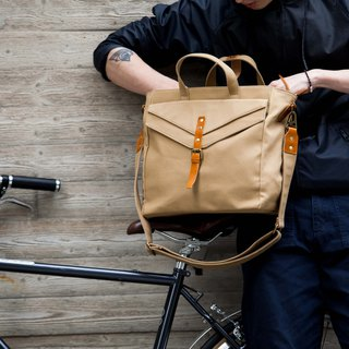 Messenger Bag /Shoulder Bag in Water Resistant Canvas and Leather Khaki