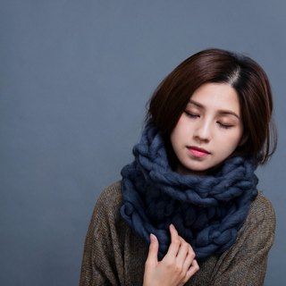 【MOUNTAIN HAND MADE】100% wool circular scarf /Gray