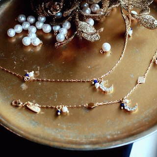 Ficelle | Handmade Brass Natural Stone Bracelet | [Lapis] love snow - the moon - necklace + bracelet combination