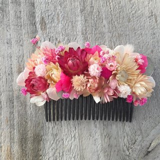 With real flowers | | pink love song dry flower hair accessories hand made spot