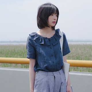 Ruffled short-sleeved shirt | shirt | linen | independent brand |Sora-142