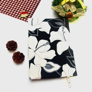 Black and white hibiscus book cover with bookmark handmade Print Cotton Fabric