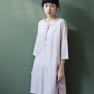 OMAKE Original Thin and Simple Striped Button Long Shirt Waist