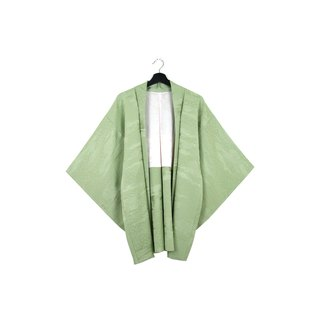 Back to Green :: Japan back and kimono plum blossom green embossed pattern // men and women can wear // vintage kimono (KC-56)