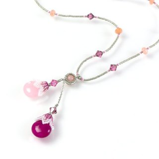 Rose pink teardrop long necklace, floral jewelry,  Swarovski crystals, 400