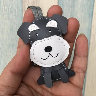 Leatherprince Handmade Leather Taiwan MIT Dark Grey/White Cute Schnauzer Hand-sewn Leather Charm Small size small size