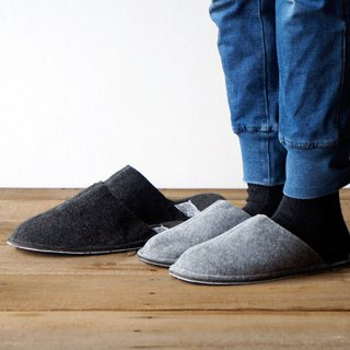 SLIPPER Large Dark Gray Handmade Home Interior Slippers - Dark Grey / Large