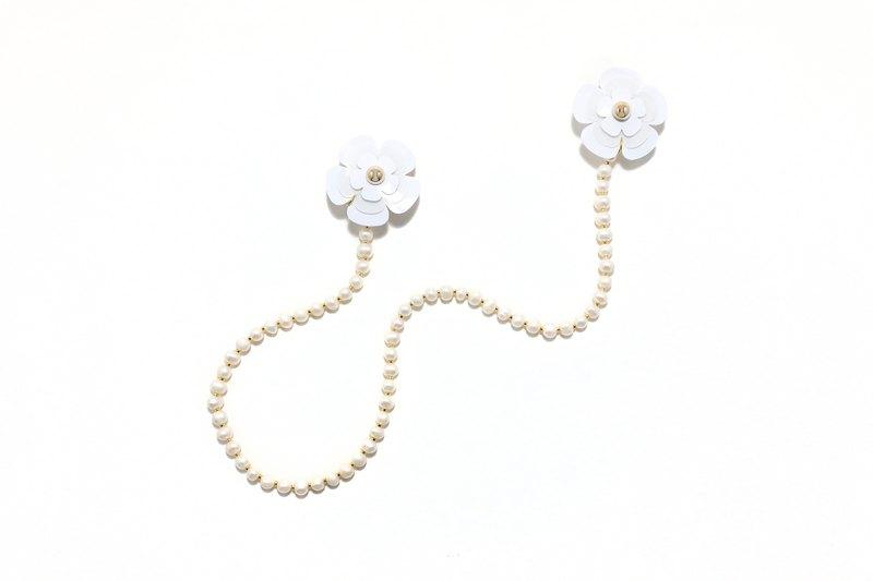花花珍珠掛頸耳環