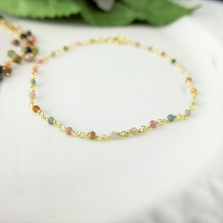 [Lalune] October birthday stone - hand made candy tourmaline temperament yellow K gold 925 sterling silver bracelet