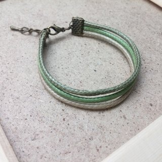 ♥ HY ♥ x handmade wax line bracelet simple three-line plain green wax tether system