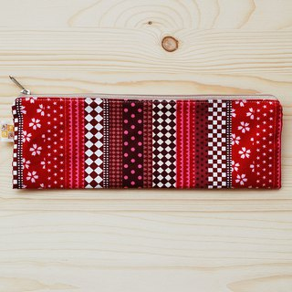 Simple style zipper wide chopsticks bag _ red
