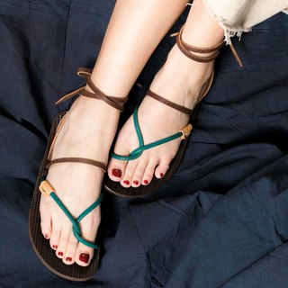 Tie Rope Roman Sandals _ Green
