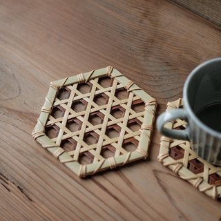 Handmade bamboo coaster _ hexagonal hole oblique pattern _ primary color / brown