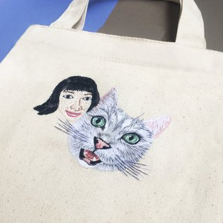 Exclusive custom - hand-embroidered environmentally-friendly small bag / a book bag - person + pet portrait
