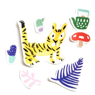 Tiger Cat Wants to Drink Tea Large Stickers Cactus More Meat Pots Mushrooms Hand Cut Transparent Sticker Pack 7 Into