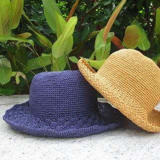 Mama の hand made hat - Summer Rafael hat / wide-brimmed hat retro loose side / violet / Mother's Day