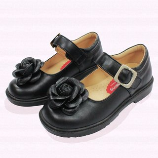 Student Doll Shoes – Black Camellia Microfiber Leather Padded Shoes Outsole Comfortable Wear Children's Shoes