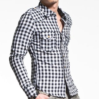 50 combed cotton double cloth small black and white plaid long-sleeved shirt pyramid rivet (lining of large lattice)