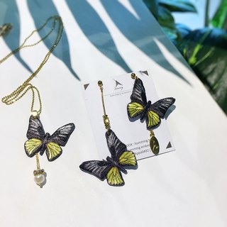 Pinkoi Sole Items | humming Embroidered Earrings Necklace Set - Butterfly Warm Color