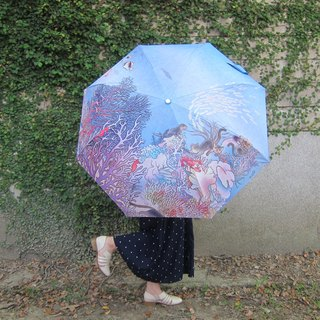 Meticulous illustration / automatic folding umbrella / wind-resistant blue umbrella - seabed ancient island people