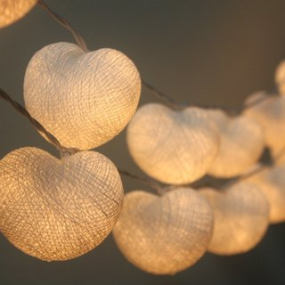 20 LED Battery Powered White Hearts valentine Cotton Ball String Lights for Home Decoration, Wedding, Party, Bedroom, Patio and Decoration
