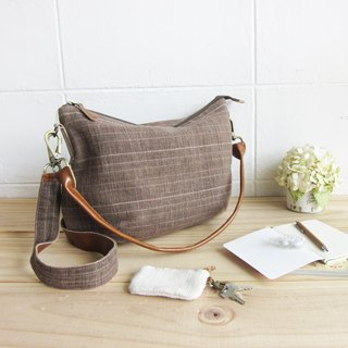 Cross-body Sweet Journey Bags M size Botanical Dyed Cotton Brown  Color