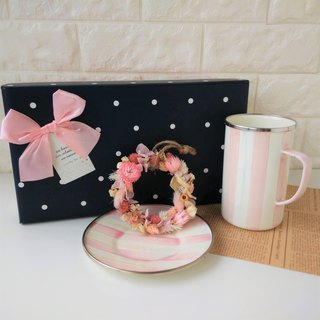 Candy Pink Striped Cup Set Dry Wreath Gift Box