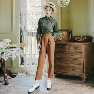 Autumn new butterfly bow shirt solid color belt belt pants set