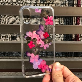 iPhone X Dry Pressed Flowers Case Purple Flower case 021