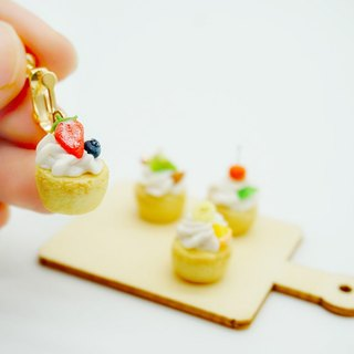 Pocket Fruit Tower Earrings Mini Fruit Pie Clip Earrings Realistic Miniature Fruits Ear Clips Ear Stud Ears