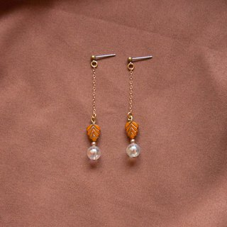 Orange Leaf Bubble Earrings
