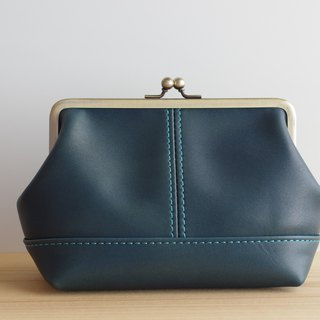Square leather pouch (L) green