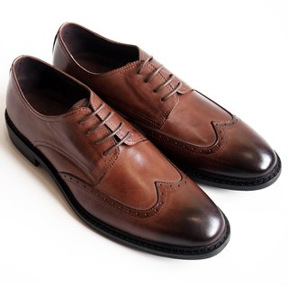 Hand-colored calfskin leather with wood-trimmed wings Derby shoes leather shoes men's shoes - Brown - Free Shipping - D1A72-89