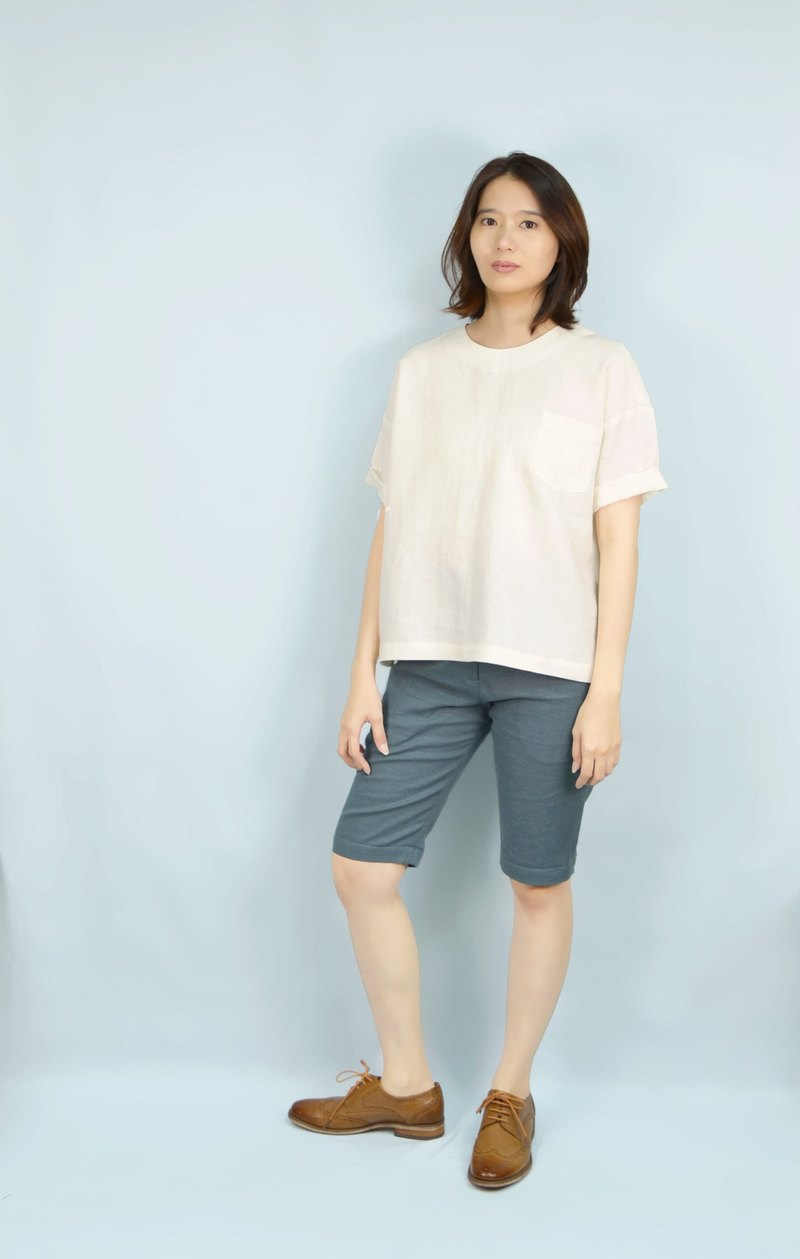 [HIKIDASHI] Tee off shoulder blouse. Beige anesthesia