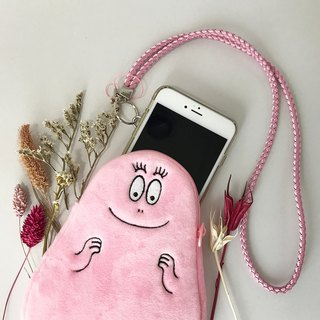 [Mr. BARBAPAPA Bubble] classic smile face fluff phone bag · Genuine authorized card International