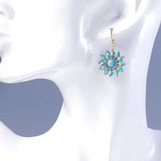 Beaded flower earrings turquoise gold, blue wedding jewelry, 375